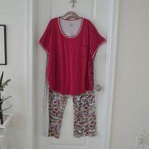 Pink and White Elephant Short Sleeve Pajama Set